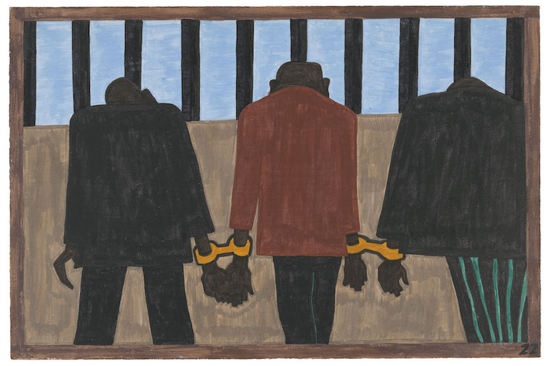 """Jacob Lawrence. The Migration Series, 1940-41. Panel 22: """"Another of the social causes of the migrants' leaving was that at times they did not feel safe, or it was not the best thing to be found on the streets late at night. They were arrested on the slightest provocation."""" Casein tempera on hardboard, 18 x 12 in. (45.7 x 30.5 cm). The Museum of Modern Art, New York. Gift of Mrs. David M. Levy. © 2015 The Jacob and Gwendolyn Knight Lawrence Foundation, Seattle / Artists Rights Society (ARS), New York. Digital image © The Museum of Modern Art/Licensed by SCALA / Art Resource, NY"""