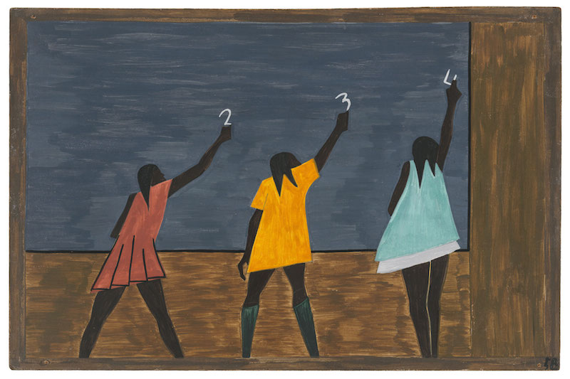 """Jacob Lawrence. The Migration Series, 1940-41. Panel 58: """"In the North the Negro had better educational facilities."""" Casein tempera on hardboard, 18 x 12 in. (45.7 x 30.5 cm). The Museum of Modern Art, New York. Gift of Mrs. David M. Levy. © 2015 The Jacob and Gwendolyn Knight Lawrence Foundation, Seattle / Artists Rights Society (ARS), New York. Digital image © The Museum of Modern Art/Licensed by SCALA / Art Resource, NY"""