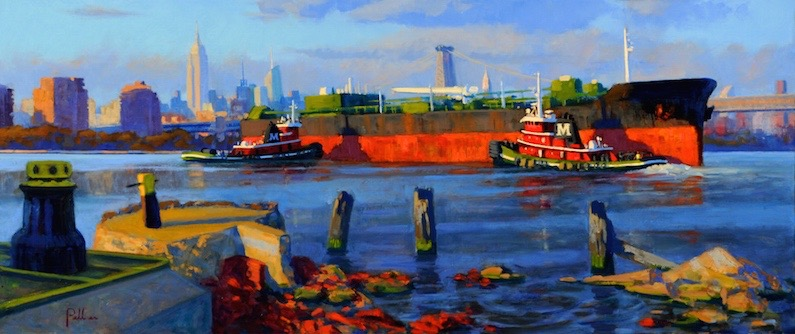 Joseph Peller, Tugs and Barge at Sunset, 2012. Oil on linen, 22 x 52 in. Courtesy ACA Galleries New York, New York