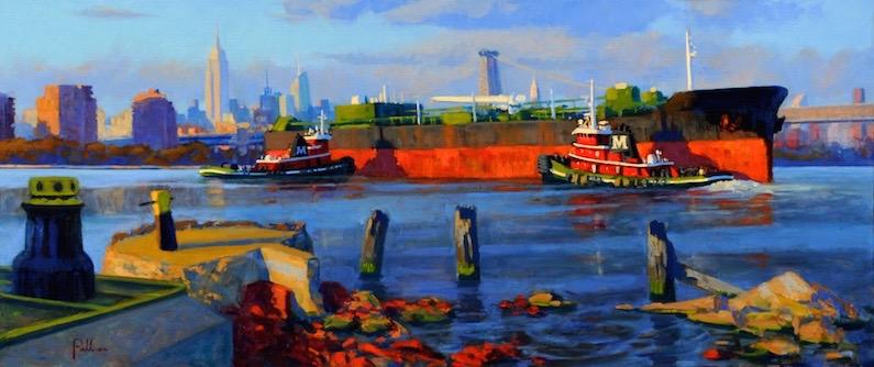 Joseph Peller, Tugs and Barge at Sunset, 2012. Oil on linen, 22 x 52 in. Courtesy ACA Galleries New York, New York