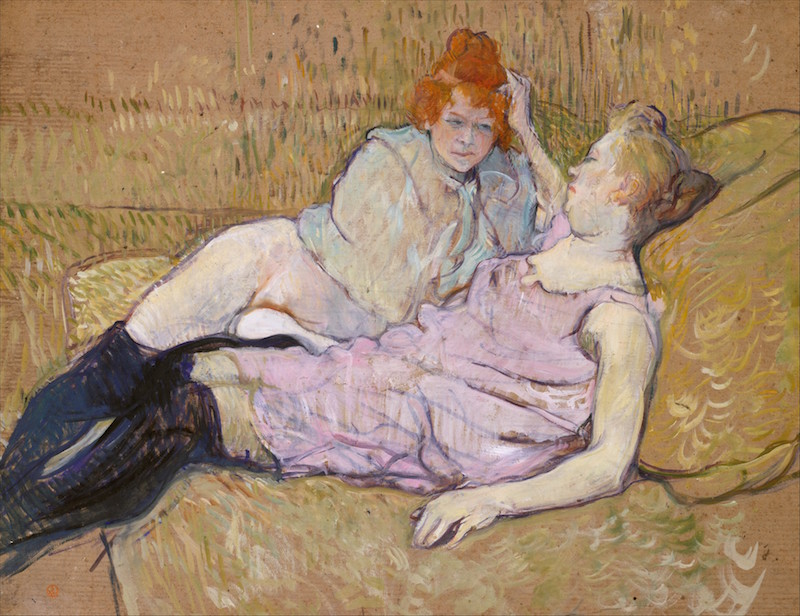 Henri de Toulouse-Lautrec, The Sofa, ca. 1894–96. Oil on cardboard, 24 3/4 x 31 7/8 in. The Metropolitan Museum of Art.