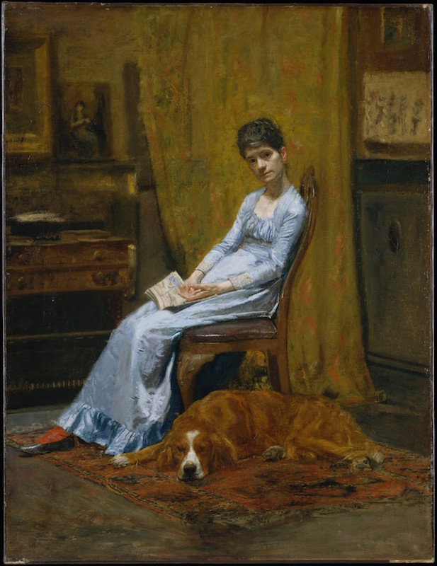 Thomas Eakins, The Artist's Wife and His Setter Dog, ca. 1884–89. Oil on canvas, 30 x 23 in. Fletcher Fund, 1923. The Metropolitan Museum of Art.