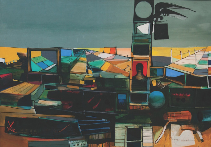 John Hultberg, The Tower, 1955. Oil on linen, 54 x 76 in. Courtesy of Queensborough Community College Art Gallery