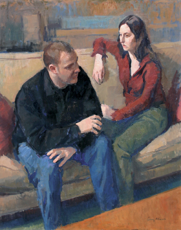 Jerry N. Weiss, Chris and Michelle. Oil on linen, 46 x 38 in.