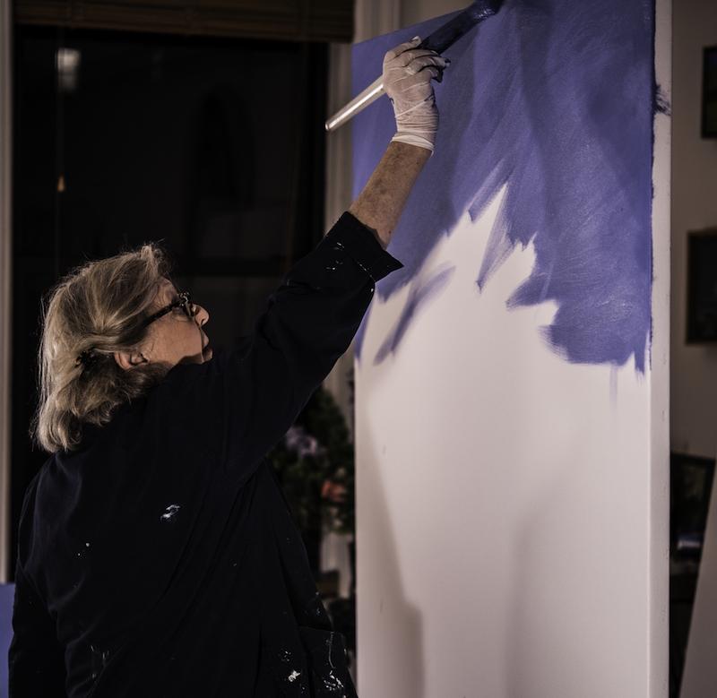 Cornelia Foss in the studio