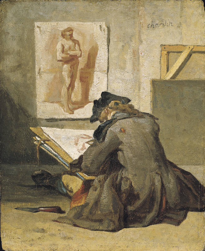 Jean-Baptiste Simeon Chardin, Young Student Drawing. c. 1738. Oil on panel, 8-1/4 x 6-3/4 in. Kimbell Art Museum, Fort Worth, Texas / Art Resource, NY.