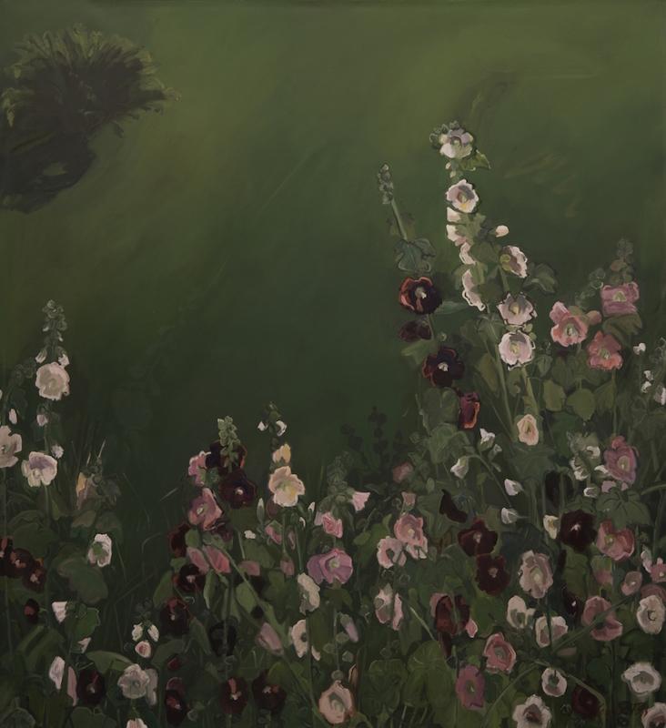 Cornelia Foss, Hollyhocks, 1990. OIl on canvas, 70 x 67 in.