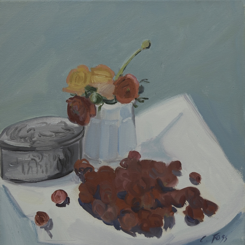 Cornelia Foss, Sugar Bowl, Flowers, and Raspberries, 2006. Oil on canvas, 14 x 14 in.