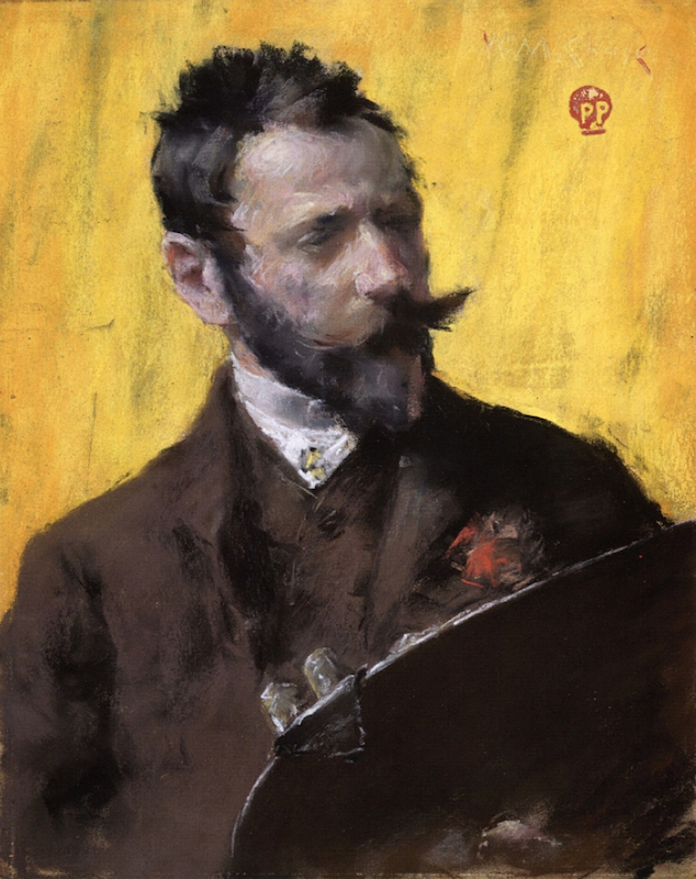 William Merritt Chase, Self-Portrait, c. 1884. Pastel on paper, 17¼ x 13½ in. Collection of Margaret and Raymond Horowitz.