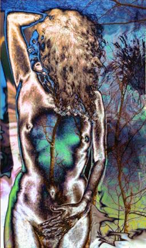 Covey_NudewithTree#25_2004_Photolithograph_handprintedon4 plates_20x30