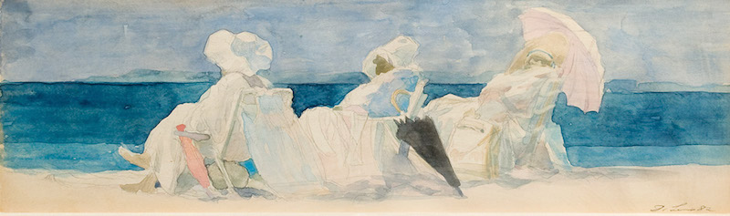 David Levine, Untitled (Three Women, Two Umbrellas on beach),1982. Watercolor on paper, 4¼ x 14 in. © Matthew and Eve Levine, courtesy of Forum Gallery, New York, NY