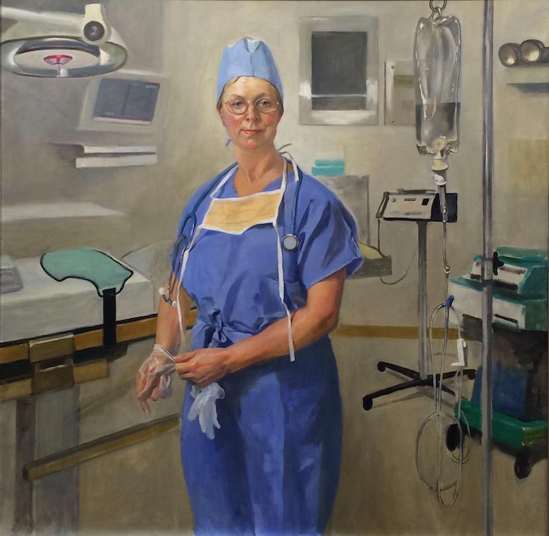 Leonid Gervits,Portrait of surgical nurse.oil on canvas 48x48