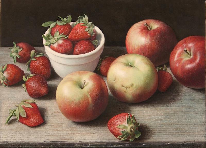 SafranekApples and Strawberries-2015--egg tempera on panel- 10 1_2