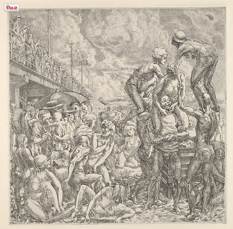 Reginald Marsh, Coney Island Beach, 1934. Etching and engraving, plate: 9 13/16 x 9 13/16 in. Gift of The Honorable William Benton, 1959 Rights and Reproduction: © 2015 Artists Rights Society (ARS) New York
