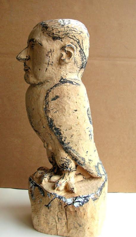 Shahn.Part Bird, Part Man.Wood, Paint, Ink,etc.26.1:2.12.9.2009-2011