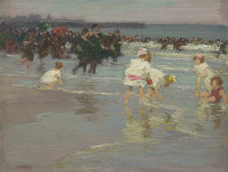 Edward Potthast, Beach Scene (or Sunday on the Beach), c. 1915. Oil on board, 30.5 x 40.6 cm. Gift of Teresa Heinz in memory of her husband, H. John Heinz III, B.A. 1960, Yale University Art Gallery.