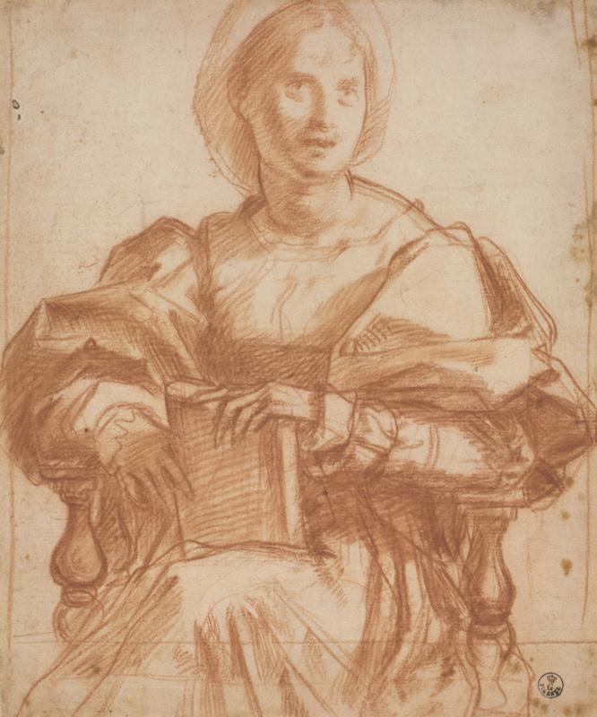 Andrea del Sarto (Italian, 1486 - 1530) Study for a Portrait of a Woman, Three-Quarter Length, about 1522 Red chalk 24.2 x 20.1 cm (9 1/2 x 7 15/16 in.) Framed: 52.5 x 39.5 x 3 cm (20 11/16 x 15 9/16 x 1 3/16 in.) Istituti museale della Soprintendenza Speciale per Il Polo Museale Fiorentino