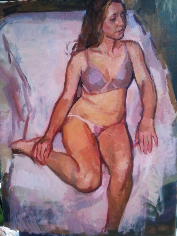 Jerry Weiss, Seated Figure. Oil on linen, 48 x 36 in.