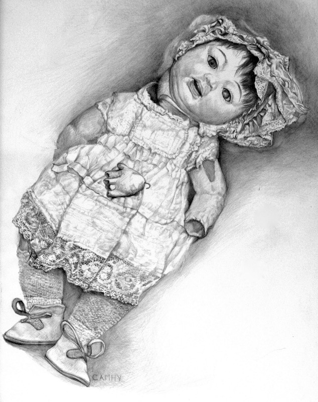 Sherry Camhy, Aunt Helen's Doll, 2007. Silver on prepared paper, 12x16.