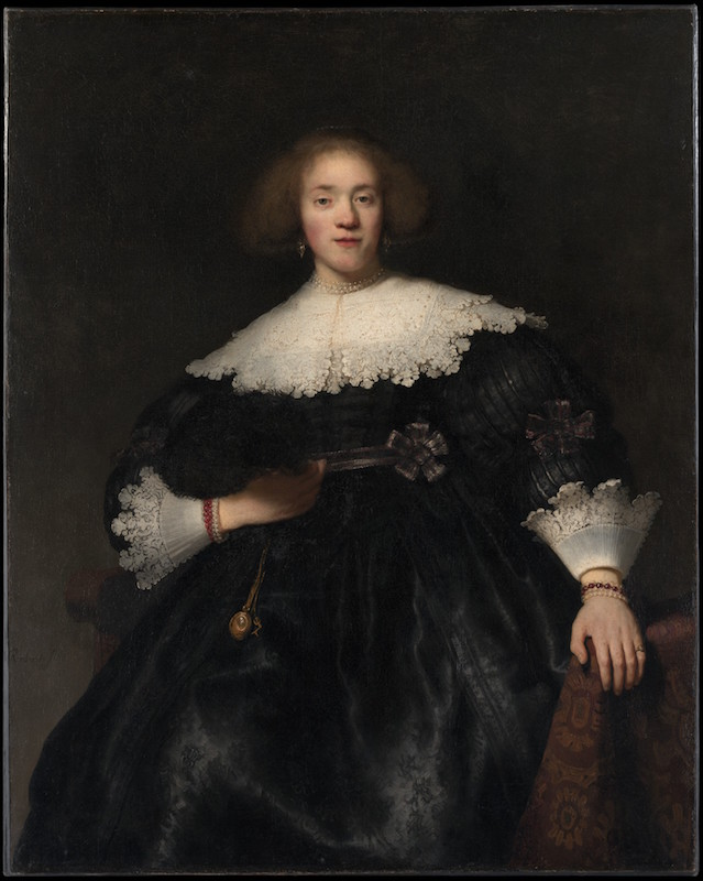 Rembrandt, Portrait of a Young Woman with a Fan, 1633. Oil on canvas, 49½ x 39¾ in. The Metropolitan Museum of Art, Gift of Helen Swift Neilson, 1943.