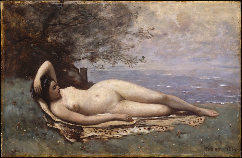 Camille Corot, Bacchante by the Sea, 1865. Oil on wood, 15 1/4 x 23⅜ in. The Metropolitan Museum of Art, H. O. Havemeyer Collection, Bequest of Mrs. H. O. Havemeyer, 1929.