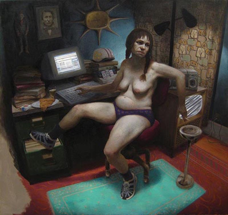 Richard Pantell, Multi-Taking, 2010. Oil on canvas, 50 x 50 in.