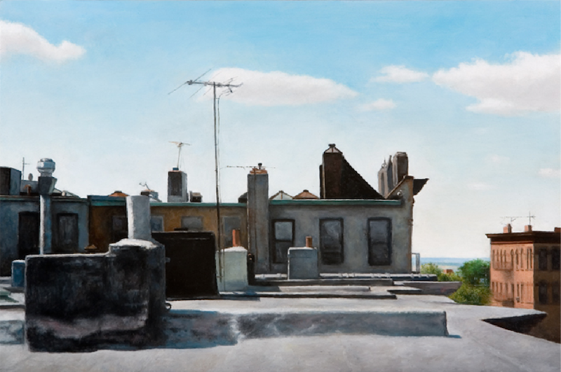 Costa Vavagiakis, Rooftop I, 2007. Oil on panel, 10 x 15 in.