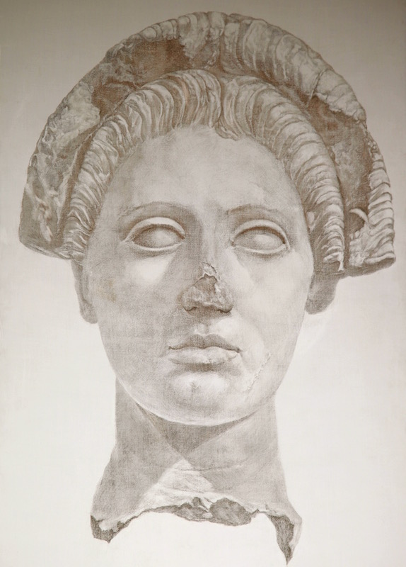 Sherry Camhy, Study of a Young Woman, 2015. Silver and gold point, 40 x 30 in.