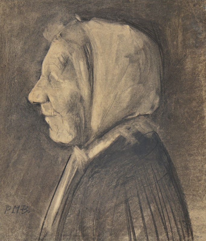 """Paula Modersohn-Becker, Peasant Woman in Profile, Facing Left, 1898. Charcoal on heavy tan paper. Initialed """"PMB"""" by Otto Modersohn, lower left. Signed drawing of a woman, verso. 38.7 x 34.6 cm. Courtesy Galerie St. Etienne, New York."""