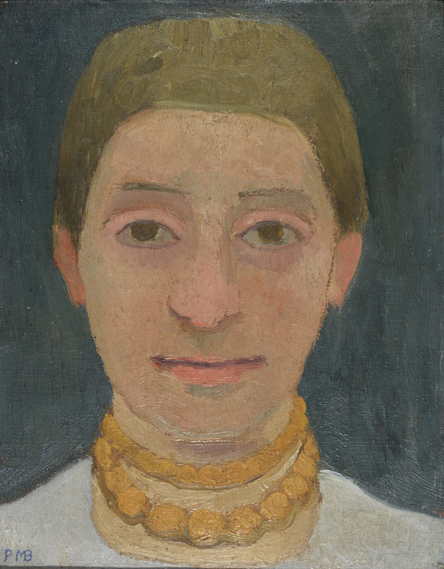 Paula Modersohn-Becker, Portrait of the Artist's Sister Herma with Amber Necklace, ca. 1905. Oil on canvas, mounted on wood, 34 x 26.4 cm.