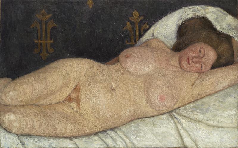 "Paula Modersohn-Becker,Reclining Female Nude, 1905-06. Oil on canvas. Initialed ""P.M-B.,"" lower left. 71.1 x 113 cm. Busch/Schicketanz/Werner 631. Courtesy Galerie St. Etienne, New York."
