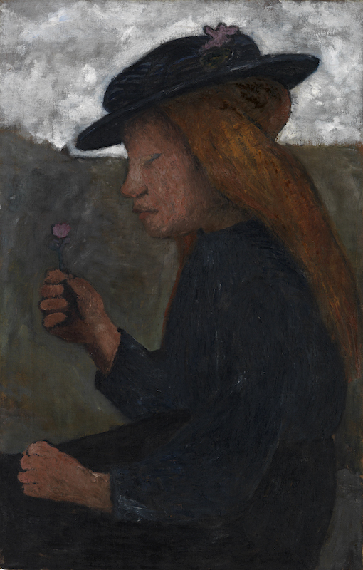 Paula Modersohn-Becker, Seated Girl with Black Hat, Holding Flower in her Right Hand, circa 1903. Tempera on canvas. 69.9 x 45.1 cm. Busch/Schicketanz/Werner 393. Courtesy Galerie St. Etienne, New York.