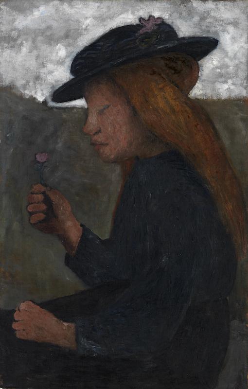 Paula Modersohn-Becker, Seated Girl with Black Hat, Holding Flower in her Right Hand, circa 1903. Tempera on canvas. 69.9 x 45.1 cm. Busch/Schicketanz/Werner 393. Courtesy Galerie St. Etienne, New York.