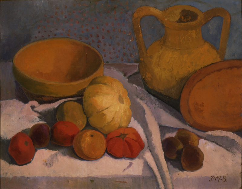 """Paula Modersohn-Becker, Still-Life with Yellow Bowl and Earthenware Pitcher, 1906. Oil on canvas. Initialed """"P.M-B.,"""" lower right. Authenticated by Otto Modersohn on the stretcher, verso. 65.4 x 82.5 cm. Busch/Schicketanz/Werner 670. Private collection, courtesy Galerie St. Etienne, New York."""