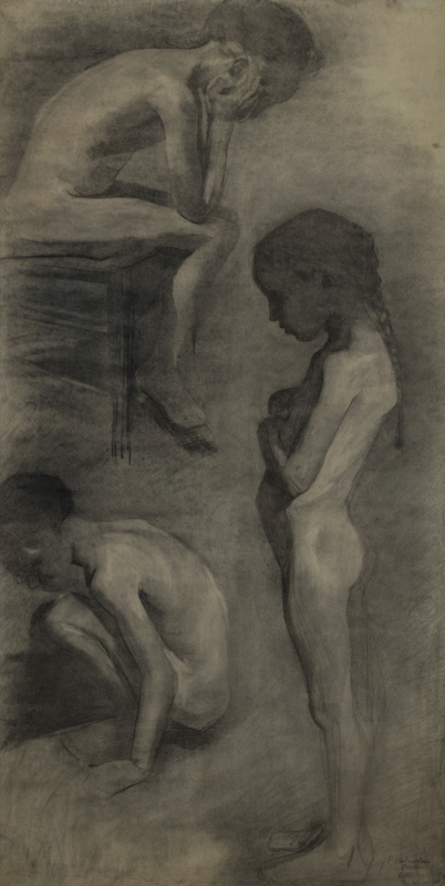 """Paula Modersohn-Becker,Studies of Three Children, circa 1899. Charcoal on paper. Inscribed """"f. P. Modersohn-Becker, O. Modersohn,"""" by the artist's husband, lower right. 167.6 x 86.4 cm. Private collection, courtesy Galerie St. Etienne, New York."""