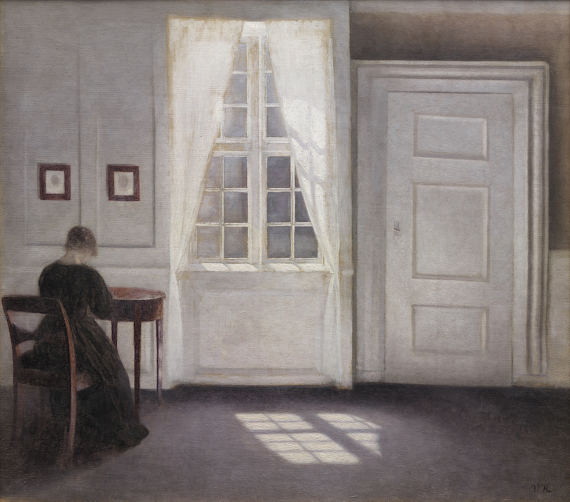 Vilhelm Hammershøi, Interior in Strandgade, Sunlight on the Floor, 1901. Oil on canvas, 18 1/3 x 20 1/2 in.