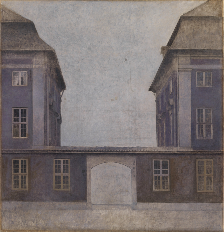 Vilhelm Hammershøi, The Buildings of the Asiatic Company, Seen from St. Annae Street, Copenhagen, 1902. Oil on canvas, 57 5/8 x 55 1/3 in.