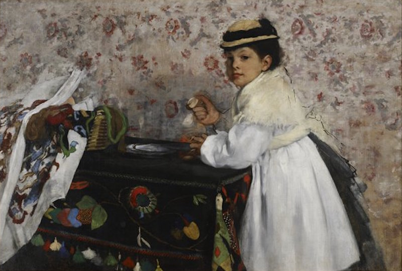 Edgar Degas, Portrait of Mlle. Hortense Valpinçon, c. 1871. Oil on mattress ticking, 29¾ x 44¾ in. The John R. Van Derlip Fund. Minneapolis Institute of Art.