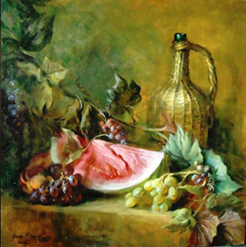 James Sulkowski, Watermelon with Grapes, 2010. Oil on canvas, 20 x 20 in.