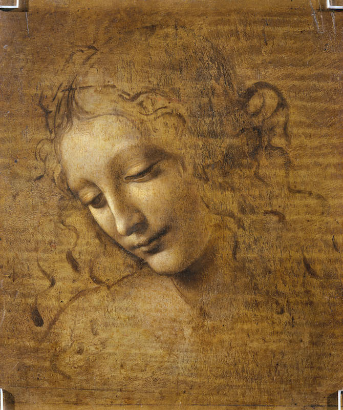 Leonardo da Vinci, Head and Shoulders of a Woman, ca. 1500–1505. Oil, earth, and white lead pigments on poplar, 9¾ x 8¼ in. Galleria Nazionale di Parma