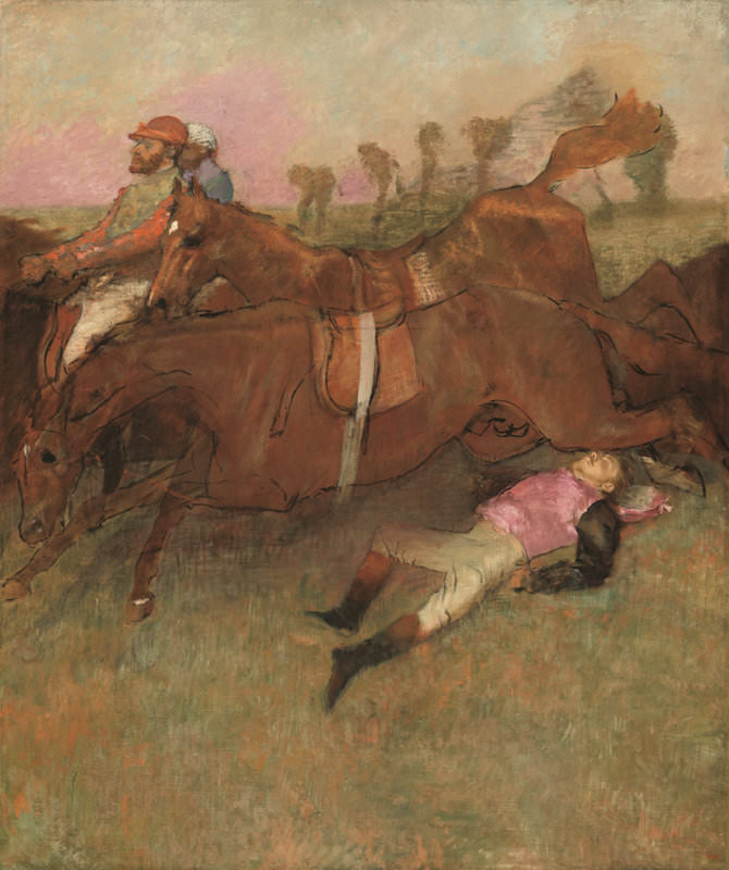 Edgar Degas, Scene from the Steeplechase: The Fallen Jockey, 1866, reworked 1880-1881 and c. 1897. Oil on canvas, 70 7/8 x 59 13/16. Collection of Mr. and Mrs. Paul Mellon. The National Gallery of Art.