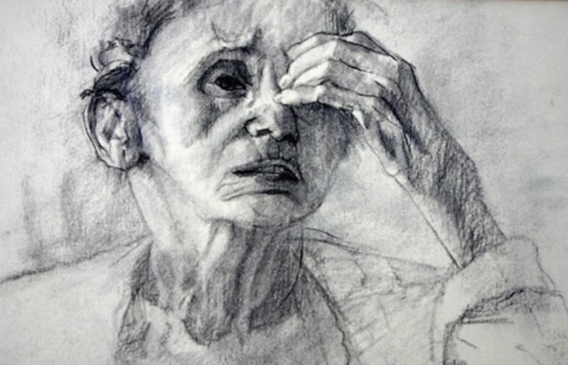 Shalen_Sophie-at-Ninety-detail-charcoal-on-Rives-15-x-21