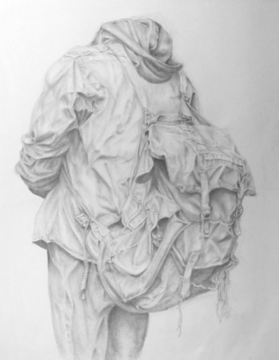 Mary Grace Concannon, Lost in the Folds: A Modern Drapery Study, 2013–14. Silverpoint on clay coat paper, 14 x 11 in.