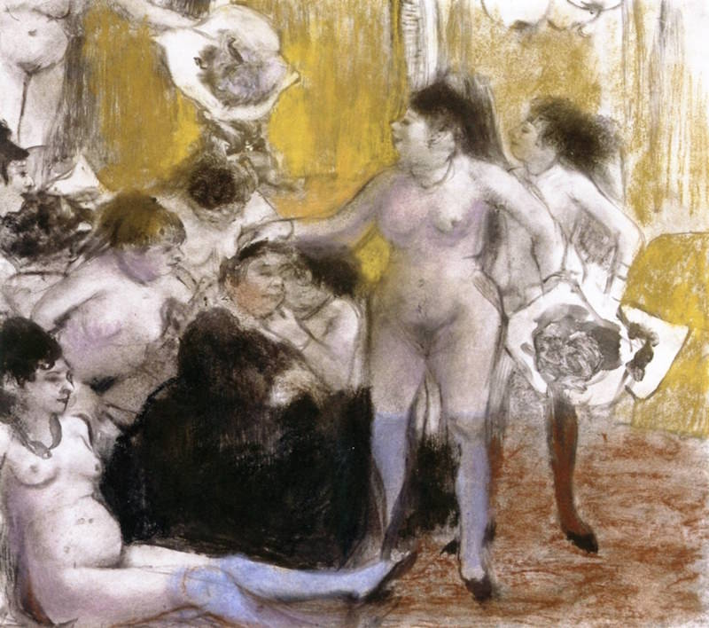 Edgar Degas, The Madam's Name Day, 1876–77. Pastel over monotype, 10.47 x 11.65 in. Musée National Picasso.