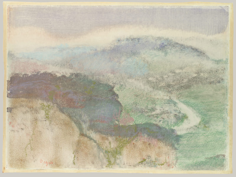 Edgar Degas,Landscape, 1892. Monotype in oil colors, heightened with pastel, 10 x 13⅜ in. Purchase, Mr. and Mrs. Richard J. Bernhard Gift, 1972. The Metropolitan Museum of Art
