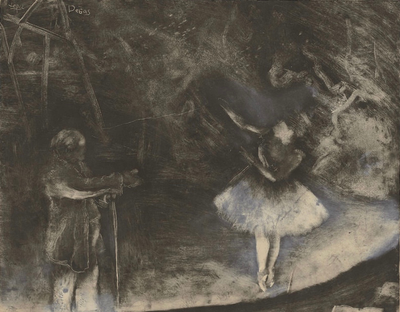 Edgar Degas, executed in collaboration with Vicomte Lepic (French, 1839 - 1889 ), The Ballet Master (Le maître de ballet), c. 1874, monotype heightened and corrected with white chalk or wash, Rosenwald Collection