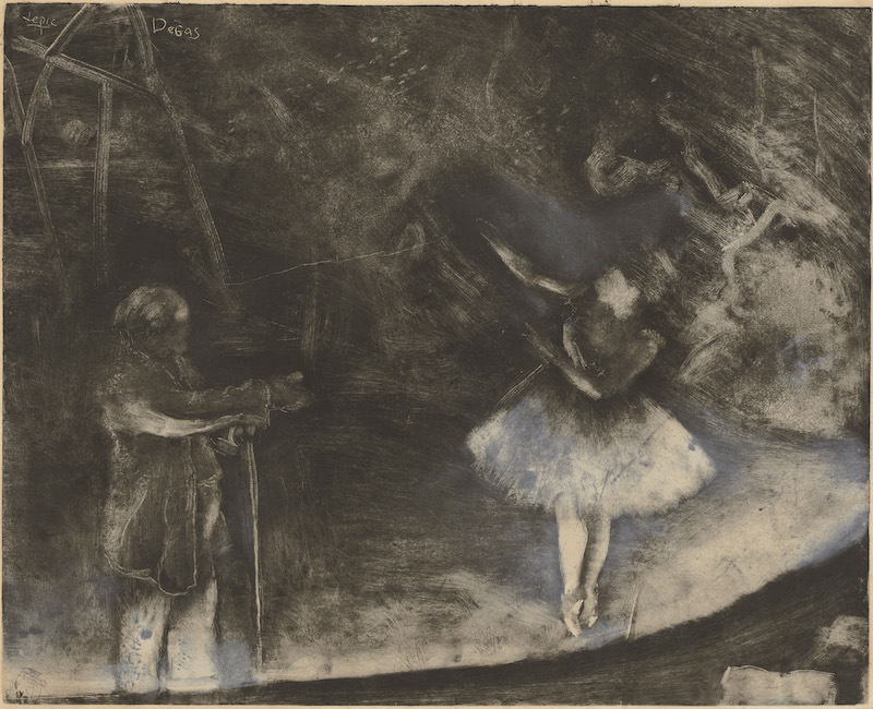 Edgar Degas, executed in collaboration with Vicomte Lepic, The Ballet Master, c. 1874. Monotype heightened and corrected with white chalk or wash, Sheet: 24 7/16 x 33 7/16 in. National Gallery of Art, Washington, D.C. Rosenwald Collection