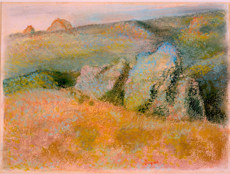Edgar Degas, Landscape with Rocks, 1892. Pastel over monotype in oil colors on wove paper, 10 1/8 x 13 9/16 in. Purchase with High Museum of Art Enhancement Fund. High Museum of Art.
