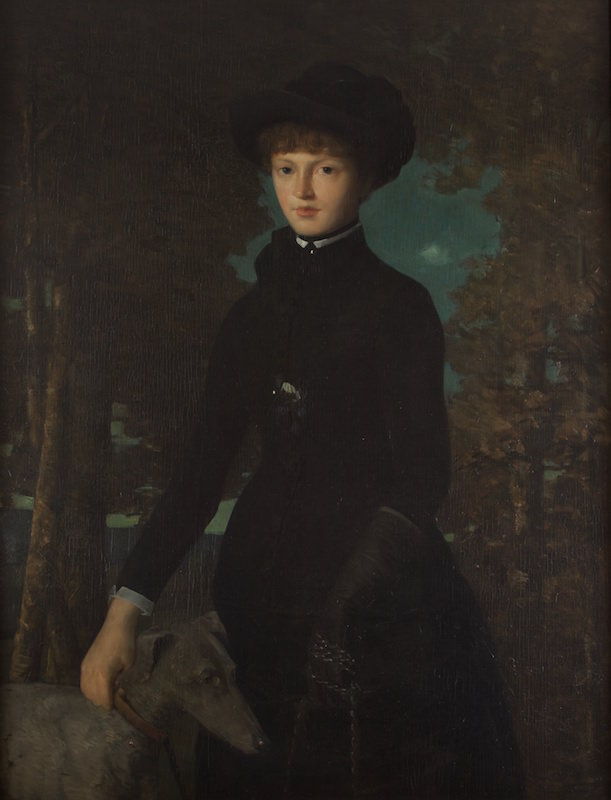 J. Alden Weir, Anna with a Greyhound, 1882. Oil on wood. Private collection. Photo by Harrison Judd