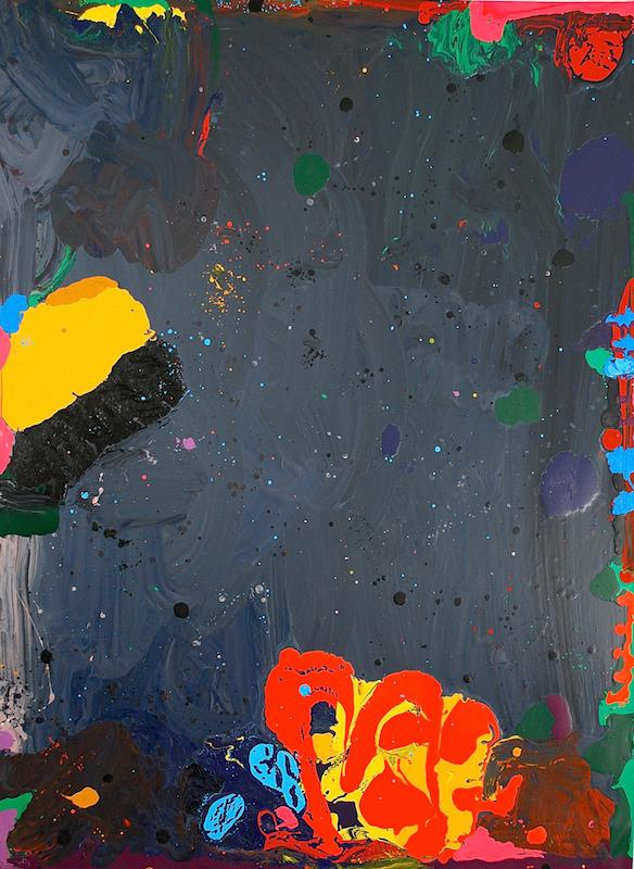 Peter Reginato Peter Reginato, Night Descends and Black Comes Back, 2015. Enamel on canvas, 96 x 70 in.